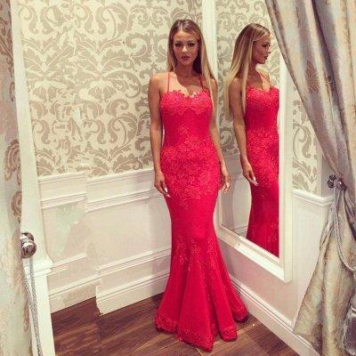 Sexy Sweetheart Spaghetti Straps Floor-length Appliques Mermaid Prom Dresses_3