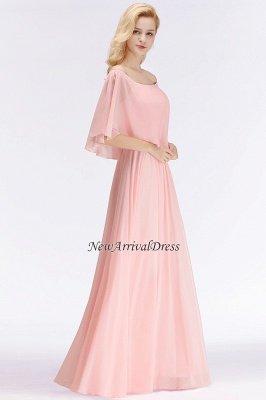 Off-the-Shoulder Pink Chiffon Cheap Bridesmaid Dresses_1