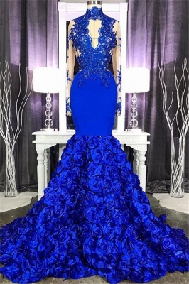Royal Blue Long Sleeve Mermaid Long Prom Dresses Cheap Online | Lace Appliques Formal Evening Gowns_1