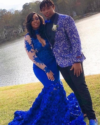 Royal Blue Long Sleeve Mermaid Long Prom Dresses Cheap Online | Lace Appliques Formal Evening Gowns_4