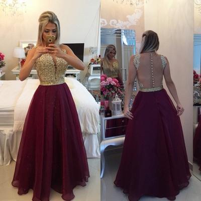 Gold Lace Applique Burgundy Prom DressesSheer Tulle Floor Length Graduation Dress BT00_3