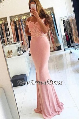 Sheath Spandex Cheap Off-the-shoulder Sexy Lace Beading Long Pink Evening Dresses_5