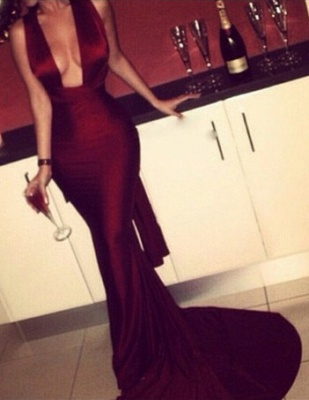 Burgundy Mermaid Prom Dresses Sexy Cross Back Cheap Formal Gowns_2
