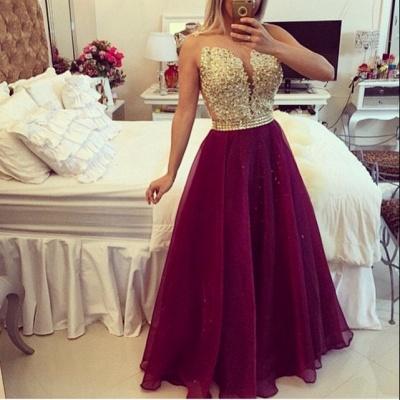 Gold Lace Applique Burgundy Prom DressesSheer Tulle Floor Length Graduation Dress BT00_2