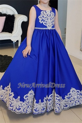 Royal Straps Blue A-Line Flower Appliques Floor-length Girl dresses_3