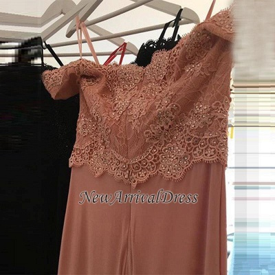 Sheath Spandex Cheap Off-the-shoulder Sexy Lace Beading Long Pink Evening Dresses_3