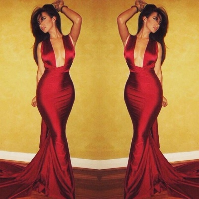 Burgundy Mermaid Prom Dresses Sexy Cross Back Cheap Formal Gowns_3