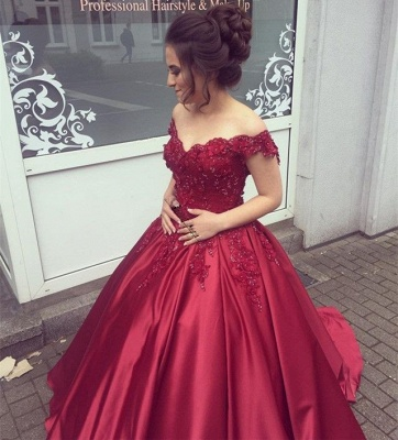 Delicate Off-the-shoulder Beading Ball Gown Prom Dress_3