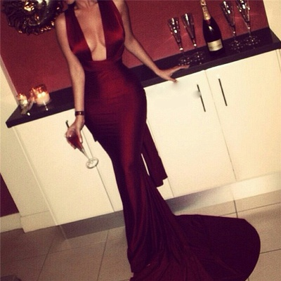 Burgundy Mermaid Prom Dresses Sexy Cross Back Cheap Formal Gowns_4