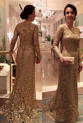 Elegant Lace Mermaid Long Sleeve Jewel Floor-length Mother Of Bride Dress_1