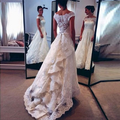 Sexy Cheap Online Lace New Arrival A-line  Cap Sleeve Wedding Dresses_1