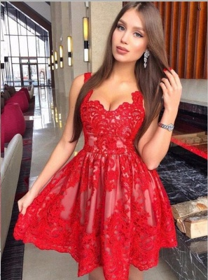 Newest Red Lace Straps Sleeveless Homecoming Dress   Short Party Gown_1