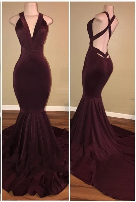 Mermaid Sleeveless Burgundy Prom Dresses Cheap | Sexy V-neck Open Back Evening Gowns_2