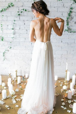 Chiffon V-Neck Beach Elegant Sleeveless Long Wedding Dresses Cheap Online_3
