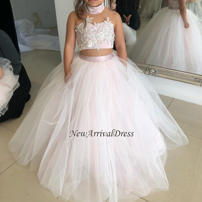 Appliques Tulle Lovely Flower Sweetheart Two-Pieces Pink Girl Dresses_1
