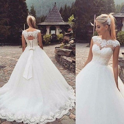 Cap Sleeve Lace-Up Bowknot Back Ball Gown Wedding Dresses Cheap_3
