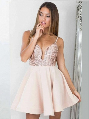 Sexy Sequined Spaghetti Strap Open Back Homecoming Dress | Short Party Gown_1