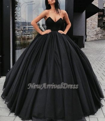 Sleeveless Black Sexy Sweetheart Ball-Gown Prom Dresses_1