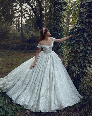 Off The Shoulder Sequins Appliques Ball Gown Wedding Dresses | Sexy Backless Lace Bridal Gowns_4