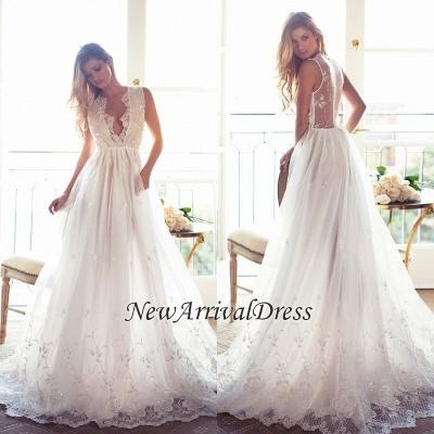 A-Line Sleeveless Gorgeous Princess Lace Custom Made V-Neck Wedding Dresses Cheap_1