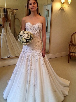 Gorgeous A-Line Sweetheart New Arrival Lace Appliques Wedding Dresses_2