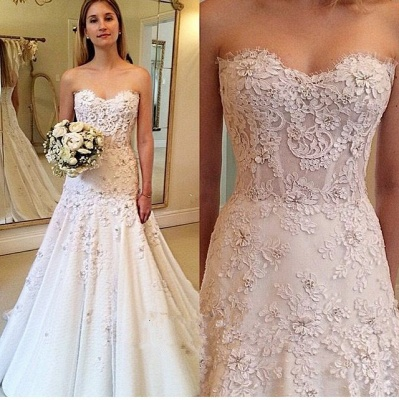 Gorgeous A-Line Sweetheart New Arrival Lace Appliques Wedding Dresses_3
