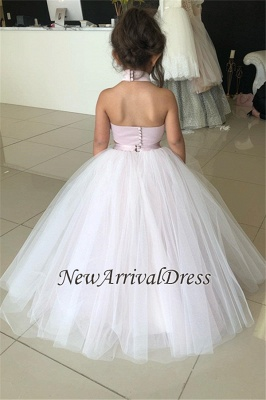Appliques Tulle Lovely Flower Sweetheart Two-Pieces Pink Girl Dresses_3