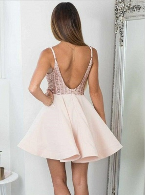 Sexy Sequined Spaghetti Strap Open Back Homecoming Dress | Short Party Gown_4