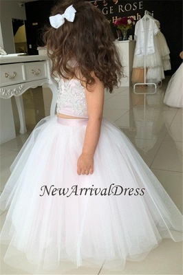 Appliques Tulle Lovely Flower Sweetheart Two-Pieces Pink Girl Dresses_5