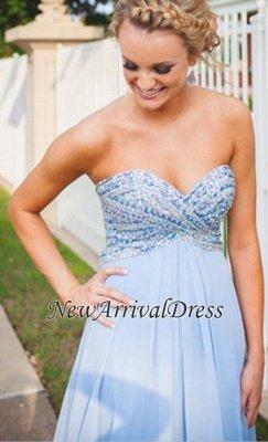 Long Empire A-Line Light-Blue Sweetheart Chiffon Crystal Prom Dresses_3