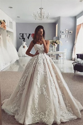 Flowers Strapless Appliques Ball Gown Wedding Dresses | Sexy Sleeveless Bridal Gowns Online with Sweep Train