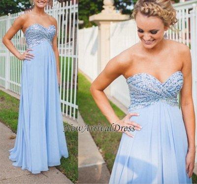 Long Empire A-Line Light-Blue Sweetheart Chiffon Crystal Prom Dresses_1