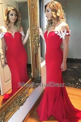 Elegant Ruffles Sheath Red Off-the-shoulder Open-Back Long White-Appliques Evening Dress_3