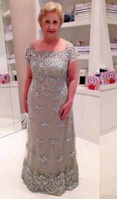 Modern Cap Sleeve Lace Appliques Beading Zipper Mother Of Bride Dress_1