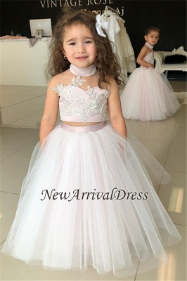 Appliques Tulle Lovely Flower Sweetheart Two-Pieces Pink Girl Dresses