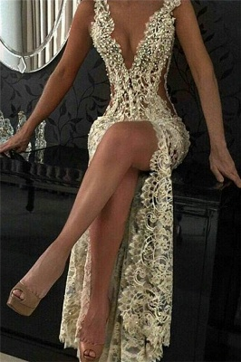 Sexy Slit Hollow-out Lace Cheap Evening Dresses   Beaded Pearls Sleeveless Long Formal Dresses_1