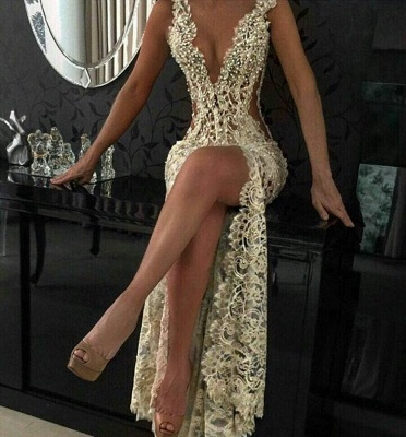 Sexy Slit Hollow-out Lace Cheap Evening Dresses   Beaded Pearls Sleeveless Long Formal Dresses_3