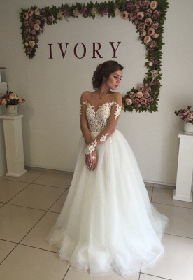 Sexy A-line Long Sleeve Wedding Dresses | Cheap Lace Appliques Tulle Bridal Gowns_1