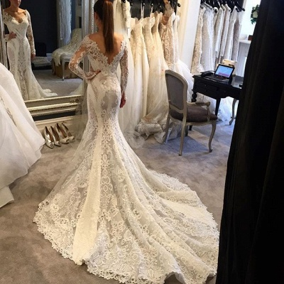 Vintage Lace Sexy Open Back Mermaid Wedding Dresses with Sleeves with Court Train_3