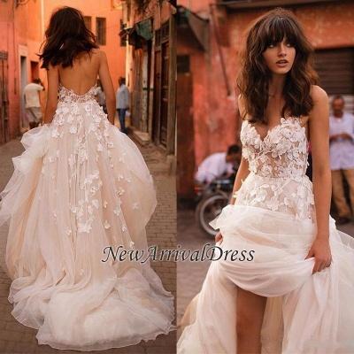Flowers Tulle Glamorous V-Neck Sleeveless Wedding Dresses Cheap_1