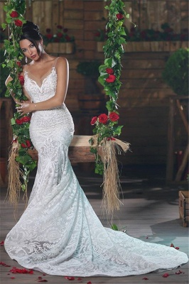 V-neck Mermaid Wedding Dresses Cheap | Lace Elegant Ope Back Tulle Straps Bridal Gowns_3