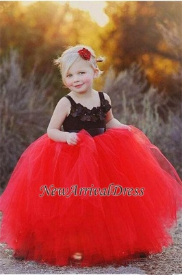 Ball Gown Flower Straps Black New Tulle Red Pageant Flowers Girl Dress_3