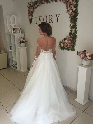Sexy A-line Long Sleeve Wedding Dresses | Cheap Lace Appliques Tulle Bridal Gowns_3