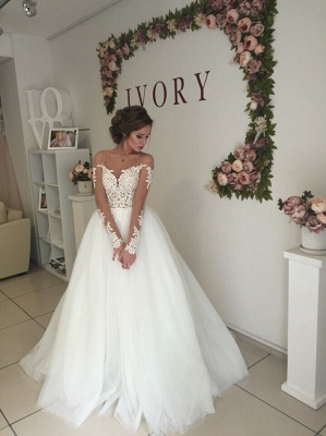 Sexy A-line Long Sleeve Wedding Dresses | Cheap Lace Appliques Tulle Bridal Gowns_4