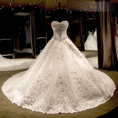 Luxury Ball Gown Wedding Dresses Cheap | Sexy Sweetheart Neck Crystals Cathedral Train Bridal Gowns_3