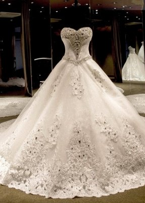 Luxury Ball Gown Wedding Dresses Cheap | Sexy Sweetheart Neck Crystals Cathedral Train Bridal Gowns_1