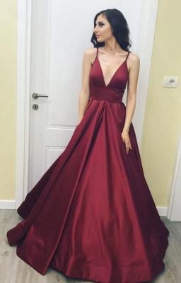 3921b3938d0 Modest Spaghetti Strap A-line Sleeveless Deep Burgundy Prom Dress ...