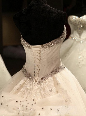 Luxury Ball Gown Wedding Dresses Cheap | Sexy Sweetheart Neck Crystals Cathedral Train Bridal Gowns_6