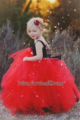 Ball Gown Flower Straps Black New Tulle Red Pageant Flowers Girl Dress_1