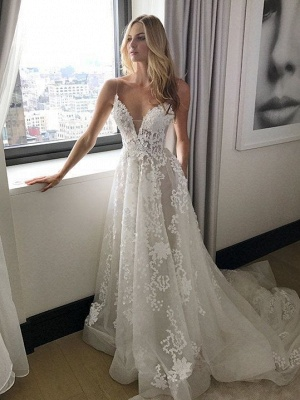 Tulle New Arrival A-line  Lace Applique Spaghetti Strap Elegant Wedding Dresses_2